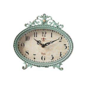 3R Studios Lily 6.25 in. H x 6.5 in. W Aqua Table Clock