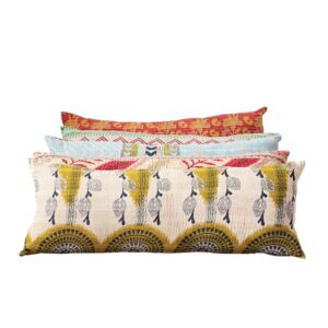 3R Studios Vintage Multicolor Cotton Quilt Kantha Lumber Pillow (each one will vary)