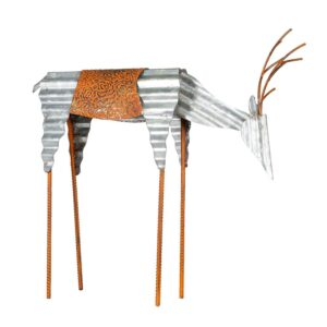 Alpine Corporation 20 in. Tall Metal Rustic Grazing Reindeer Christmas Decoration