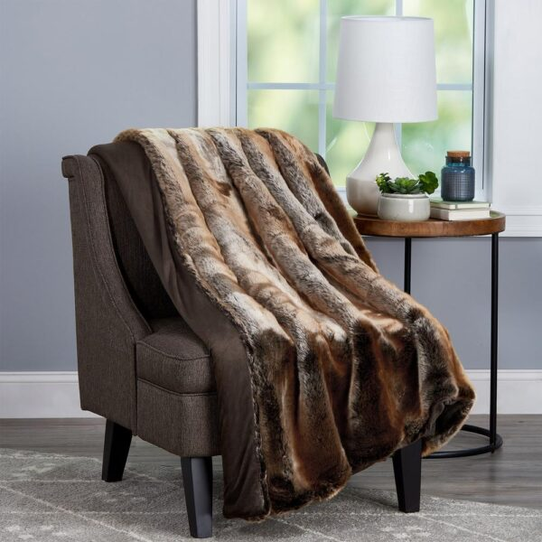 Lavish Home Oversized Premium Amber Brown Fashion Faux Marten Sable Hypoallergenic Throw Blanket