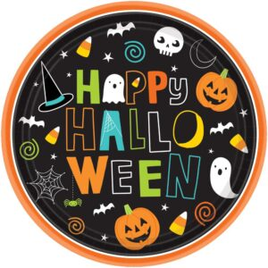 Amscan 7 in. x 7 in. Paper Halloween Friends Round Plates