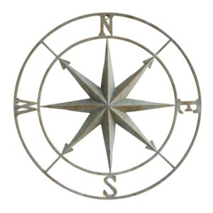 3R Studios 41 in. x 41 in. Distressed Aqua Iron Metal Wall Compass