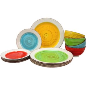 Gibson Home Confetti Band 12-Piece Rustic Assorted Ceramic Dinnerware Set (Service for 4)