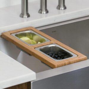 KRAUS 16.75 in. Workstation Kitchen Sink Composite Serving Board Set with Rectangular Stainless Steel Bowls