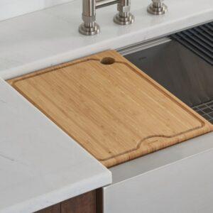 KRAUS 12 in. Solid Bamboo Workstation Kitchen Sink Cutting Board
