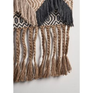 LR Home Trellis Beige / Charcoal Geometric Braided Fringed Wall Tapestry