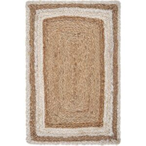 LR Home Toned 19 in. x 13 in. Bleach / Natural Jute Placemat (Set of 4)