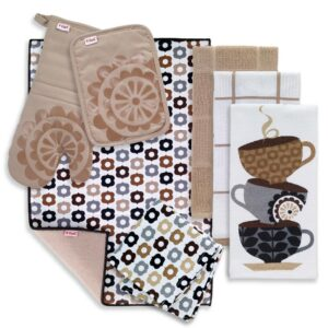 RITZ T-Fal Sand Cotton Coffee Solids and Prints Kitchen Towels (Set of 8)