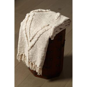LR Resources LR Home Handmade Boho Farmhouse Natural - Off White Sofa Bed Throw Blanket with Fringe