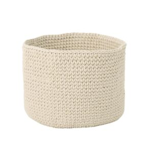 Noble House Derry Round Knitted Cotton Thread Sundries Basket, Beige