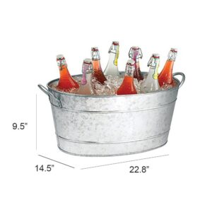 Benzara Galvanized Gray Beverage Tub with Handles