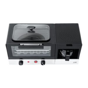SPT Breakfast Center 1450 W 2-Slice Black and Stainless Steel Toaster Oven with Griddle and Coffee Maker