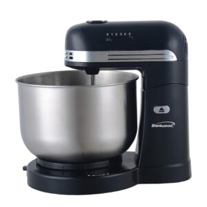 Brentwood Appliances 3 Qt. 5-Speed Black with Stainless Steel Mixing Bowl Stand Mixer