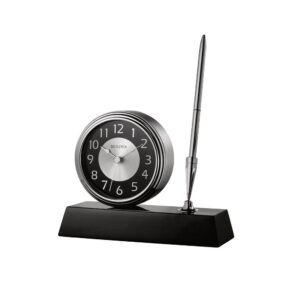 Bulova 5 in. H x 5.75 in. W Clock and Pen Desk Set with Black Wooden Base and Brushed Silver Accents