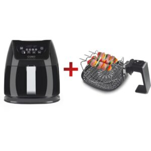 CASO 3.2 qt. Black Air Fryer with Barbecue Accessories