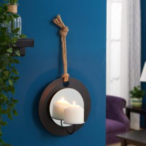 DANYA B Algarve Black Round Pillar Candle Sconce with Mirror and Rope