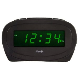 Equity by La Crosse Digital 0.60 in. Green LED Electric Alarm Table Clock