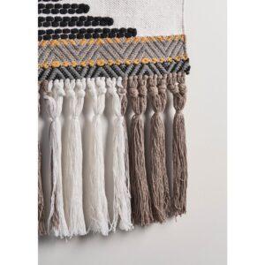 LR Home Trellis Neutral Black / Gray Geometric Fringe Wall Tapestry