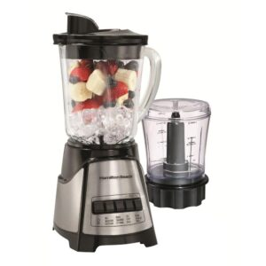 Hamilton Beach 40 oz. 12-Speed Black and Stainless Steel Blender with Food Chopper Jar