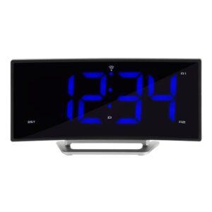 La Crosse Technology 1.8 in. Curved Blue LED Atomic Dual Alarm Clock