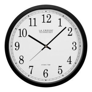 La Crosse Technology 14 in. Atomic Round Analog Black Wall Clock