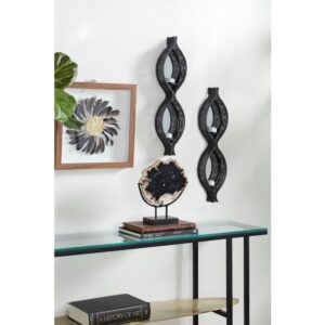 LITTON LANE Eclectic Figure Eight Black Mesh Metal Wall Sconces with Mirrors, Set of 2