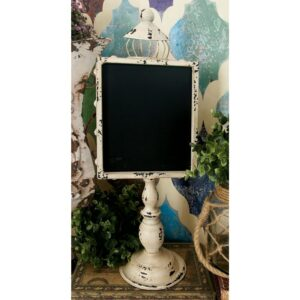 LITTON LANE 21 in. Rustic Wooden Chalkboards with White and Black Iron Stands (2-Pack)