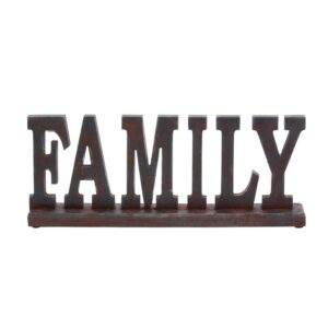 """LITTON LANE 20 in. x 8 in. Home and Hearth """"FAMILY"""" Wooden Tabletop Decor"""