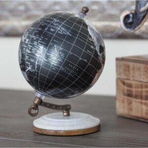 LITTON LANE 7 in. x 5 in. Modern Decorative Globe in Black and Silver