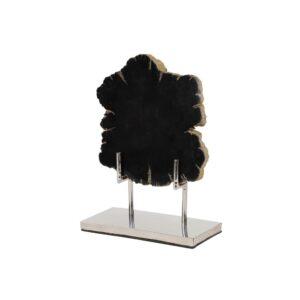 LITTON LANE Large Live Edge Black Petrified Wood Slice Sculpture on Silver Metal Stand