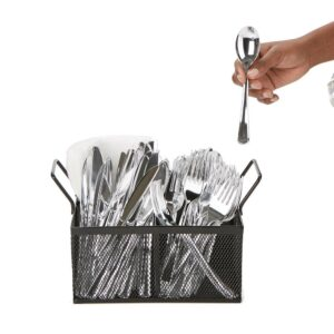 Mind Reader 4-Section Black Mesh Cutlery Caddy, Cutlery Holder, Flatware Organizer, Forks, Spoons, Knives, Countertops