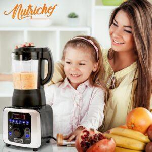 NutriChef 59 oz. 9-Speed Black Digital Countertop Blender with Heat, Adjustable Time/Temperature/Speed Settings