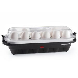 Presto 12-Egg Easy Store Electric Egg Cooker Black Base with Clear Cover