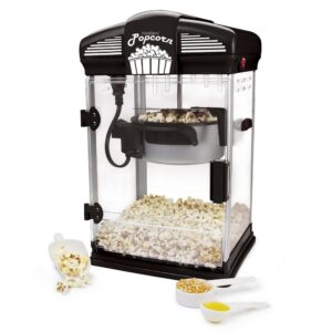 West Bend 4-Quart Black Hot Oil Movie Theater Style Popcorn Popper Machine with Nonstick Kettle Includes Measuring Cup and Scoop