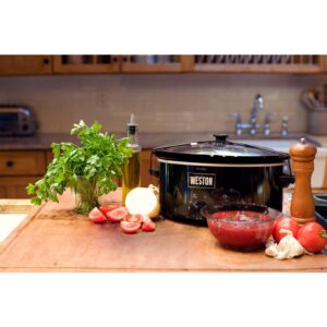 Weston 5 Qt. Black Slow Cooker with Locking Lid and Temperature Settings