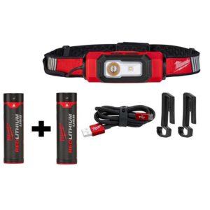 Milwaukee 600 Lumens LED USB Rechargeable 360-Degree Visibility Hard Hat Headlamp W/ Extra REDLITHIUM USB Battery