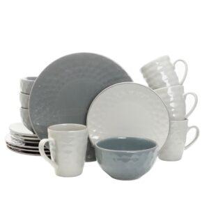 Elama Tahitian Grand 16-Piece Casual Blue Stoneware Dinnerware Set (Service for 4)