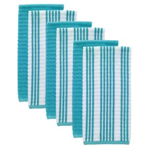 RITZ T-Fal Breeze Solid and Stripe Waffle Cotton Terry Kitchen Dish Towel (Set of 6)