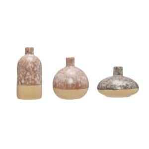 3R Studios Brown Stoneware Decorative Vase (Set of 3)