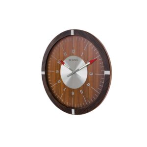 Bulova 30 in. H x 30 in. W Zebrawood Veneer Outer Case Round Wall Clock