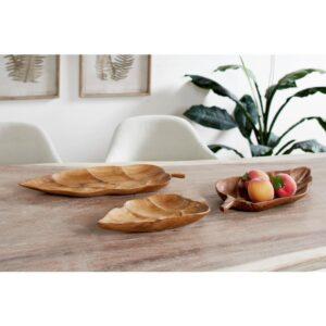LITTON LANE Large Rustic Leaf-Shaped Natural Teak Wood Serving Trays (Set of 3)