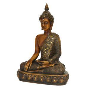 LITTON LANE Polystone Sitting Buddha Sculpture on Oval Base