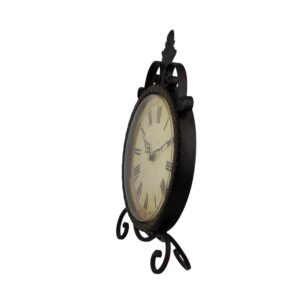 LITTON LANE 17 in. x 11 in. Round Iron Table Clock