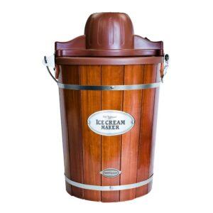 Nostalgia Vintage 6 Qt. Dark Wood Bucket Electric Ice Cream Maker