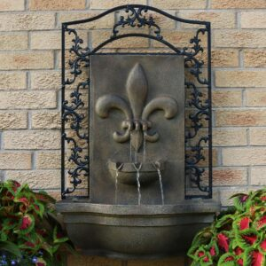 Sunnydaze Decor French Lily Florentine Stone Electric Powered Outdoor Wall Fountain