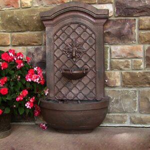 Sunnydaze Decor Rosette Leaf Iron Electric Powered Outdoor Wall Fountain