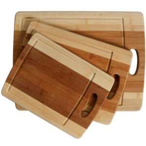 Heim Concept Classic 3-Piece Organic Bamboo Cutting Board Set with Drip Groove