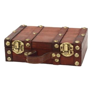 Vintiquewise 6.5 in. x 4.3 in. x 2 in. Wood and Faux Leather Antique Style Small Mini Suitcase