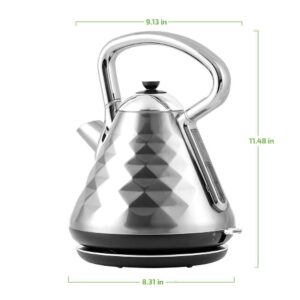 Ovente 7.1-Cup Silver Electric Kettle with Boil-Dry Protection and Auto Shut-Off, Cleo Collection (KS755BR)
