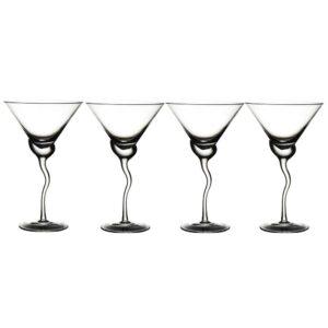Abigails Martini 13 oz. Glass with Wave Stem (Set of 4)